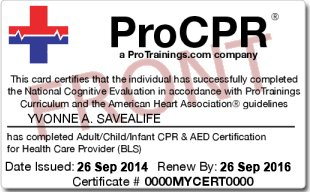 CPR Certification Card from an Online Course